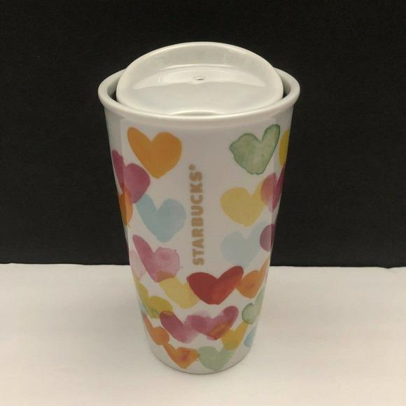Starbucks 2015 Hearts Dot 10 Oz Ceramic Tumbler